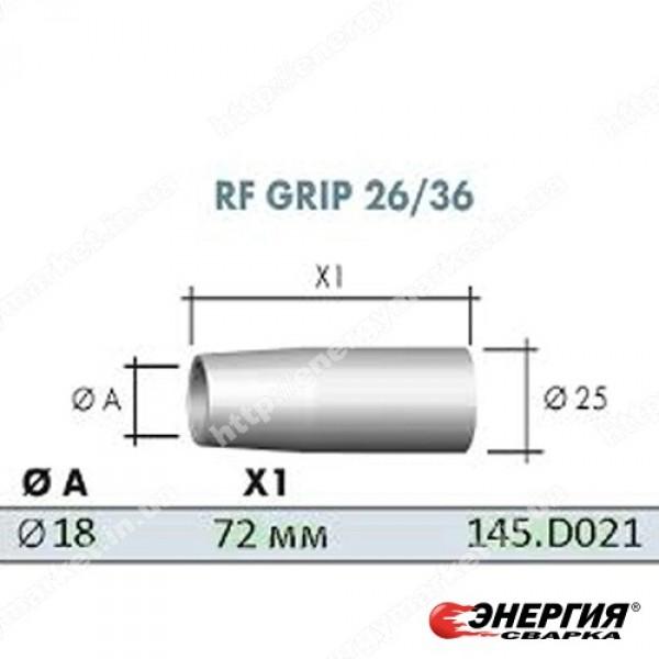145.D021 Сопло газовое коническое гальванопокрытое  D 18,0 / 25 / 72 мм для сварочных горелок RF 36, ABIMIG® 300 / 350, ABIMIG® GRIP A / ABIMIG® AT305 / 355 / 405 Abicor Binzel