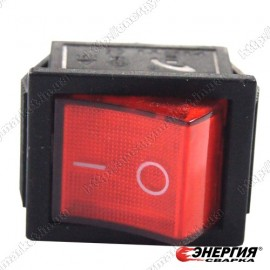 Выключатель сетевой клавишный Т120 15А / 250В ON-OFF красный с подсветкой